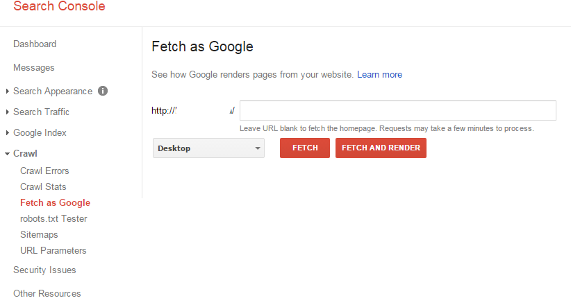 Search Console Fetch and Render