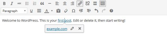 Inline Link Toolbar