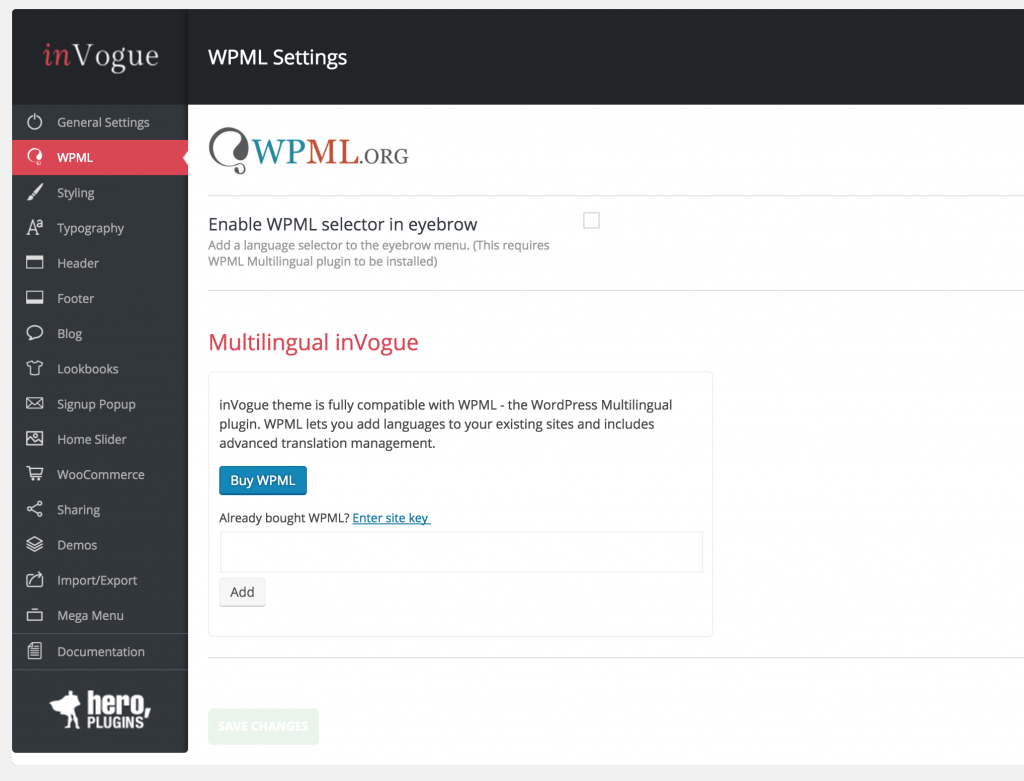 WPML installer in the settings panel
