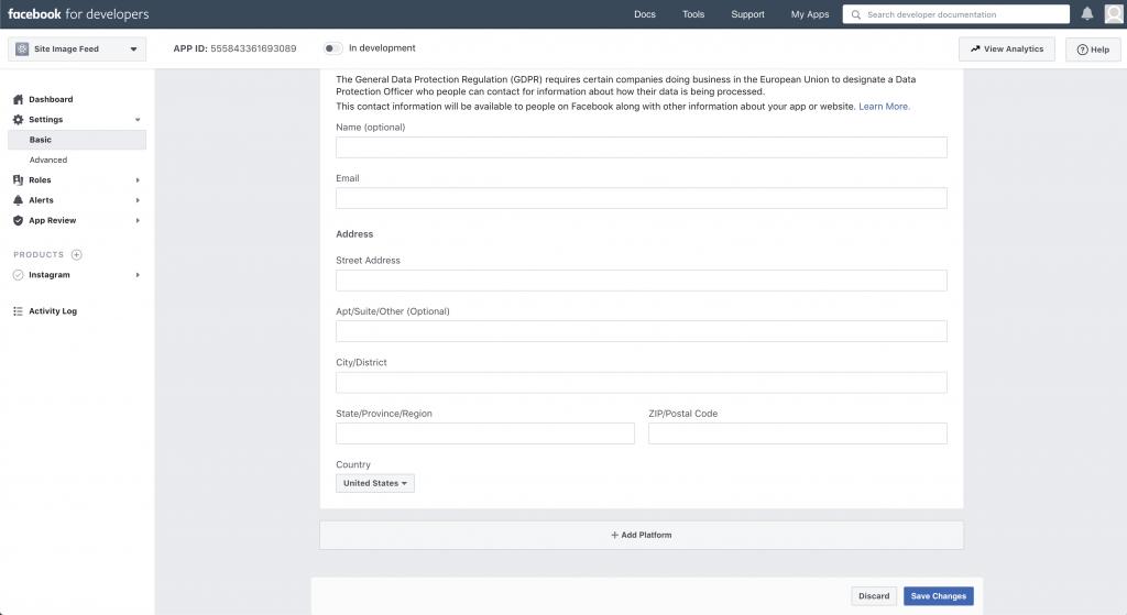 Edit Facebook app platform details